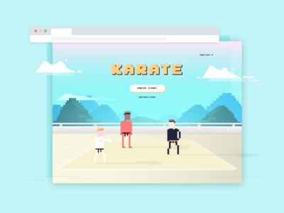 Retro Fighting Game Title Screen / Landing Page karate 8-bit fighting game video games retro landing page dailyui