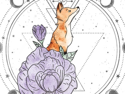 Floral Fox with Moon Cycle Illustration