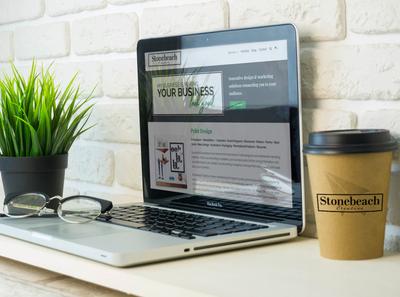 Stonebeach Creative Website & Coffee Cup Branding
