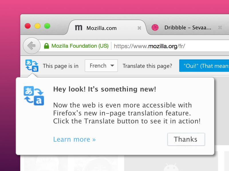Promoting Automatic Translation in Firefox on First-Use doorhanger translation translate toolbar notification ui firefox ux mozilla