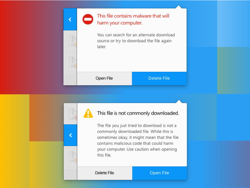 Slide-over Download Warning Panels malware alert message warning downloads firefox browser ux ui mozilla