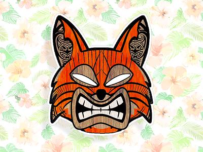 Tiki Fox icon illustration hawaiian tiki fox sticker brand logo cartoon firefox mozilla