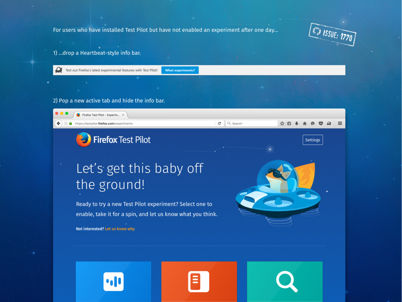 Enticing Firefox Test Pilot Users to Install an Experiment reminder website webpage infobar toolbar notification gif animation ui firefox ux mozilla