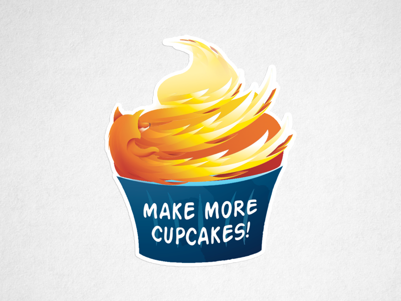 Make More Cupcakes! label swag fire flame icing cake cupcake illustration stickers browsers firefox mozilla