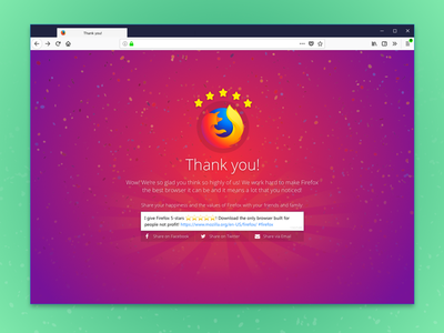 Referral Experiment #1 email facebook tweet stars recommend share thank you thanks firefox mozilla ux ui