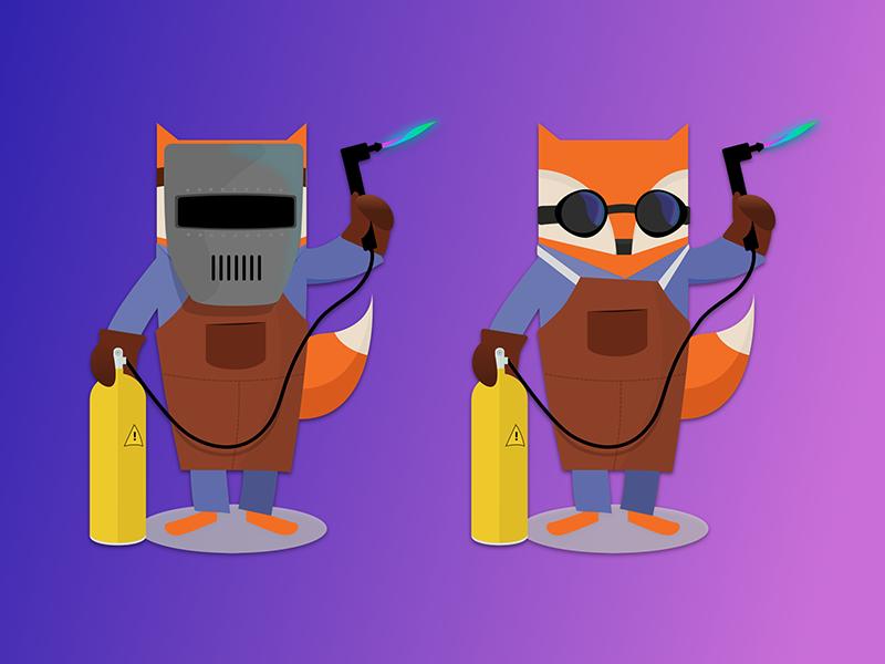 Welder Foxes firefox mozilla animal graphic illustration welding welder animals foxes fox stickers