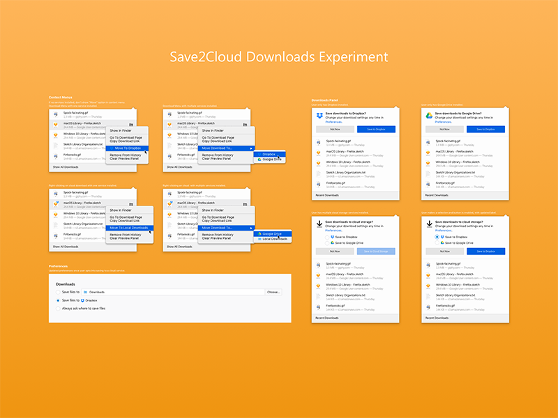 Save to Cloud Experiment download files internet browsers ux ui mozilla firefox experiment storage save cloud