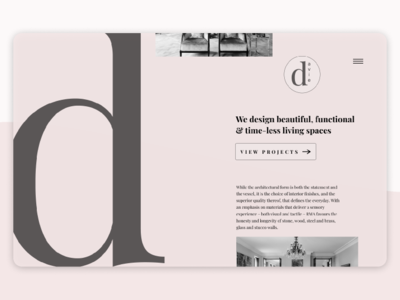 DailyUI // Day 03 // Landing Page for Interior Design Firm minimalist landing page ui uxdesign interaction design figmadesign dailyui