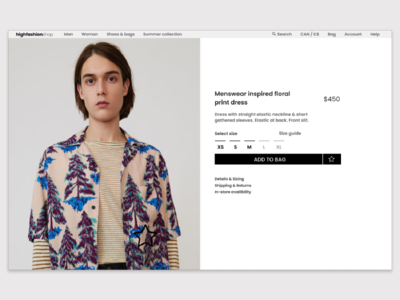Daily UI 012 / E-commerce product page fashion app ecommerce ecommerce design app ui uxdesign interaction design figmadesign dailyui