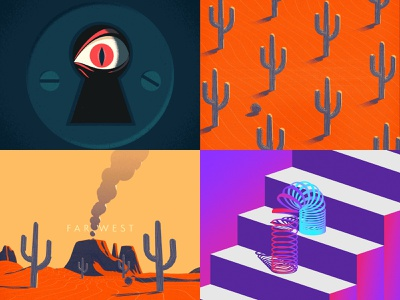 2018 - My Top 4 bounce texture illustration loop grain animation c4d motion graphics cinema 4d after effects motion design gif