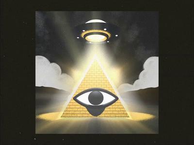 U.F.O Pyramid - Ping Pong Club #7 light grain eye alien ufo egypt pyramid illuminati cinema 4d after effects motion design gif