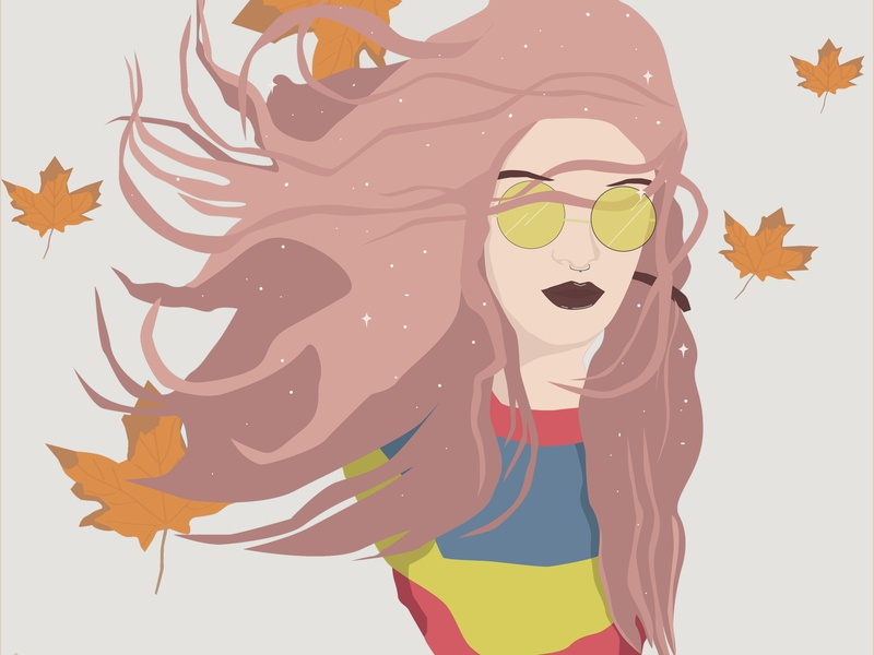 Autumns girl illustration illustration pastel flat illustration design character animation