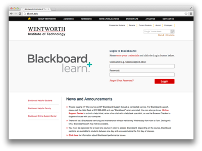 Blackboard Login Page