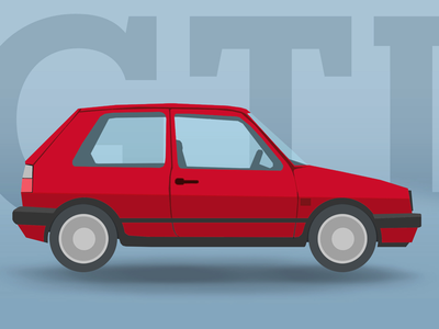 VW MK1 GTI car illustration flat