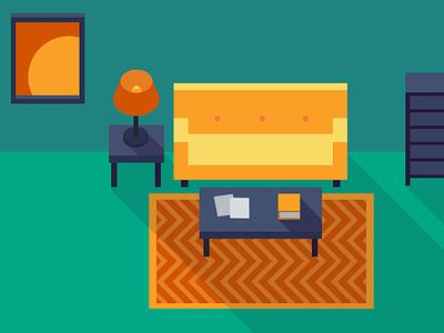 A Flat Living Room living room flat illustration