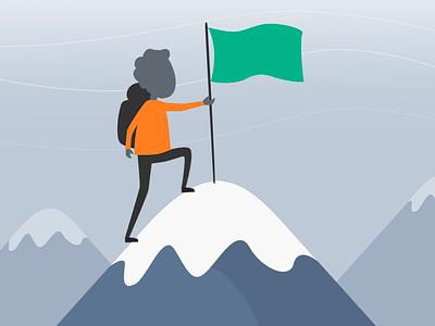 Success explorer android ios mobile flat vector illustration line art