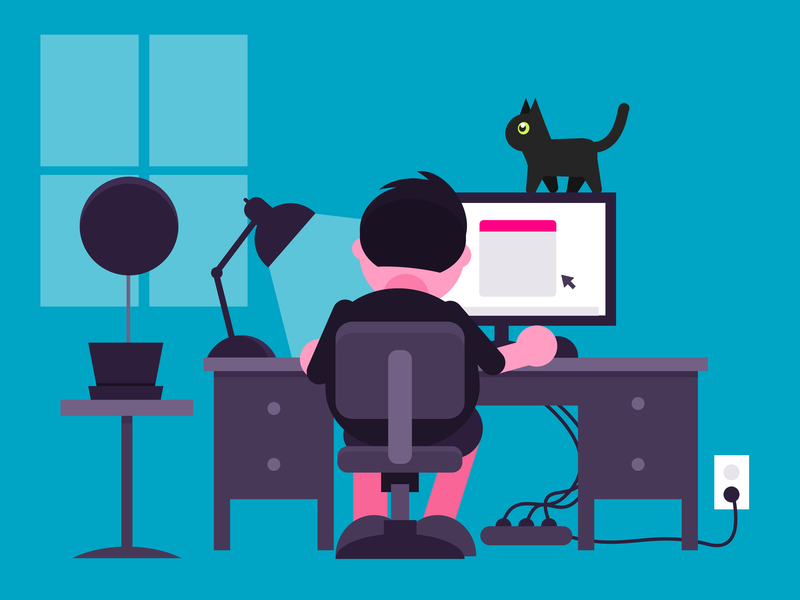 Work From Home flat character design 2d illustration