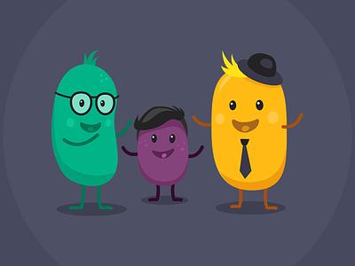 Human Beans mobile illustration flat 2d character design