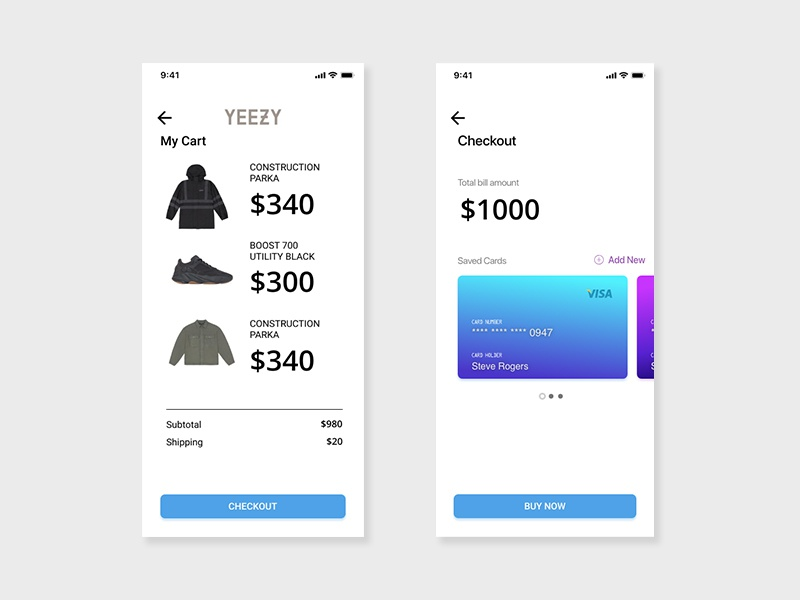 Daily UI Challenge - Day 2 yeezy checkout website app ux typography illustration web uxdesign design dailyui