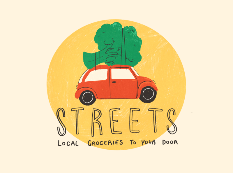 Streets greengrocers delivery groceries fruit vegan food logo digital branding limited palette design illustration illustrator vegetables