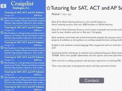 Craigslist Redesign for iPad - Post craigslist redesign ipad app mobile ux ui interface