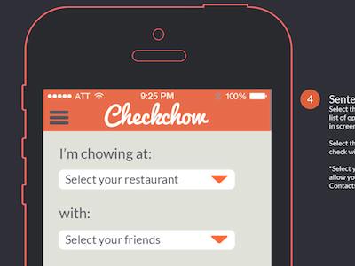 Checkchow Restaurant Selection mobile ios7 food restaurant check bill checkchow ux ui interface