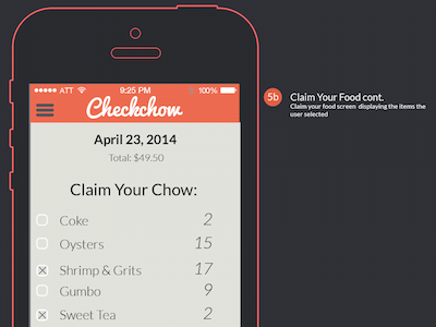 Checkchow Food Selection Screen ux ui interface ios flat checkchow food restaurant