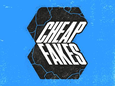 Cheap Fakes Distressed Logo band tee band merch procreate identity branding 3d truegrittexturesupply retro supply distressed logo cheap fakes