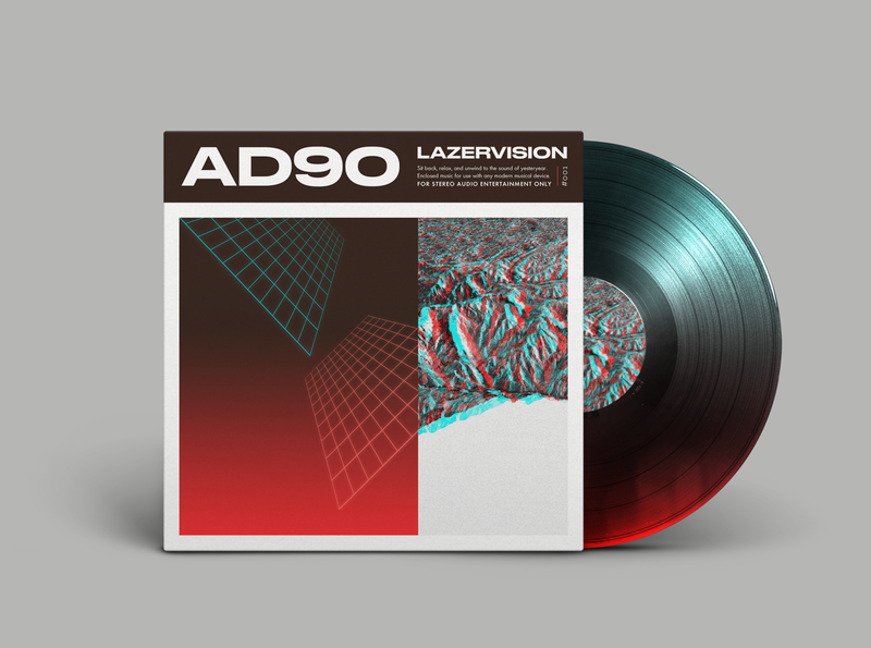 "AD90 ""Lazervision"" Vinyl LP identity design music sleeveart hiphop beats mockup album cover design record cover vinyl album art album cover vinyl record"