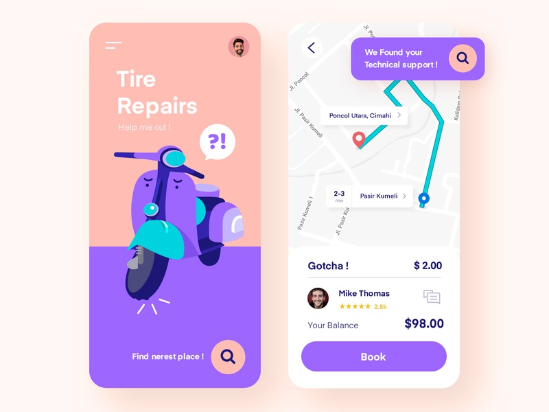 Tire Repairs UI design vespa homepage app inspiration colorfull purple mobile illustration ux ui