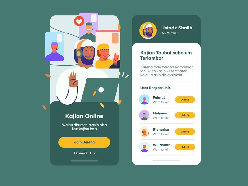 Face Learn Online iOS App webcam cam chat muslim uiux vector clean app inspiration mobile illustration ux uidesign ui