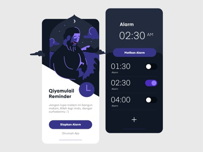 Phone UI Alarm iOS App daily ui muslim night dark mobile design uiux clean vector app inspiration mobile illustration ux ui