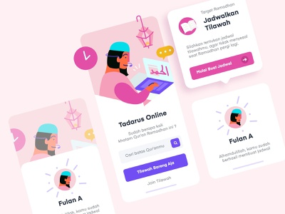 Tracking Appkit Mobile iOS quran pink muslim vector app design inspiration mobile illustration ux ui design uiux ui