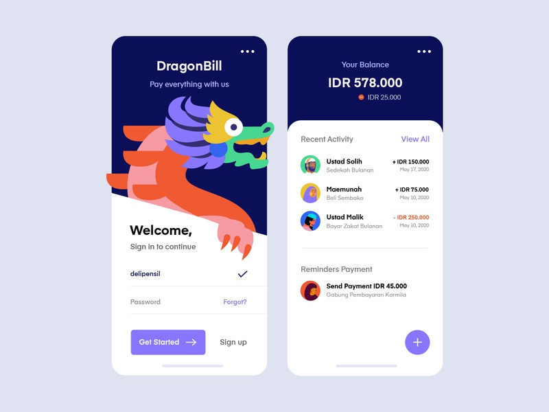 DragonBill Payment Mobile App bitcoin currency bank app banking bank invoice payment uiux clean vector purple app inspiration mobile illustration ux ui