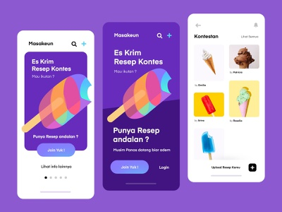 Ice Cream Contest Mobile App food foodui sweet icecream uiux app inspiration mobile illustration ux ui