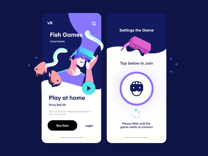 VR Fish Games Mobile App vector art sea ocean fish clean vector app inspiration mobile illustration ux ui virtual reality vr
