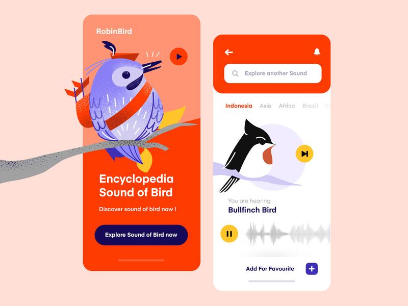 Sound of Bird Mobile App iOS ui design bird illustration bird uiux colorfull clean vector purple app inspiration mobile illustration ux ui