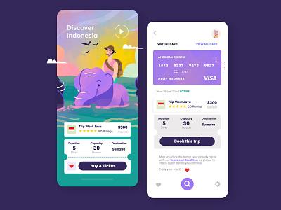 Trip Travel Application free indonesia elephant uiux colorfull clean vector purple app inspiration mobile illustration ux ui