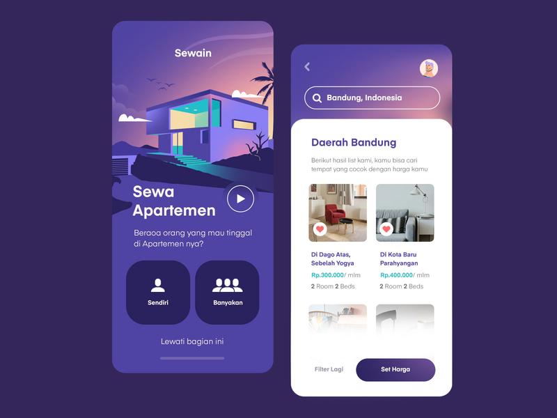Rent Apartment Mobile App home house building apartment rent landing uiux clean vector purple app inspiration mobile illustration ux ui
