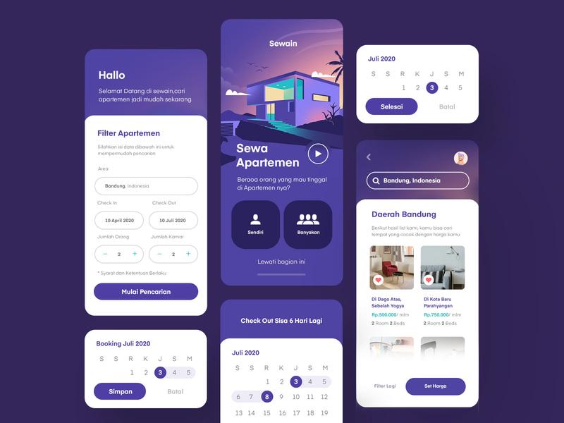 Rent Apartment Mobile App set card ui card cards clean vector purple app inspiration mobile illustration ux ui
