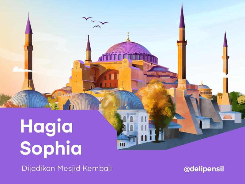 Hagia Sophia Illustration postcard card poster brush canvas landscape colorfull clean drawingart drawing inspiration illustration hagia sophia sophia hagia