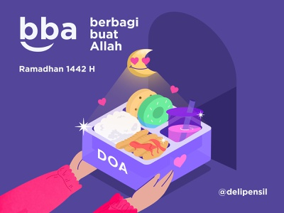 BBA - Illustration Gift Lovely Food flat clean purple muslim ramadhan gift hand charity poster inspiration food illustration