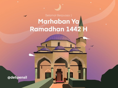 Ramadhan Kareem :) gradient sky purple inspiration landscape ramadhan muslim mosque illustration