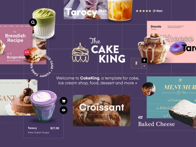 The Cake King - Multipurpose Template Website homepage responsive mobile inspiration illustration ux ui html css html template website