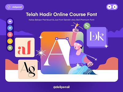 Delipensil Online Course Font purple fonts online course ux ui website homepage slider font