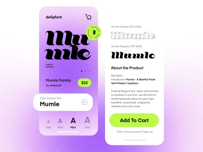 Mumle - Typeface on UI font clean ios mobile app ux ui