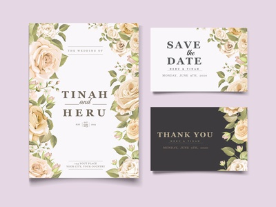 Yellow and white roses wedding card template
