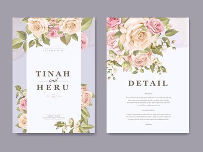 soft purple floral wedding card