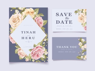 soft purple floral wedding card