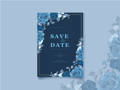 elegant classic blue wedding card